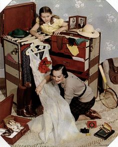 MCCALL MAG, HOMEMAKING COVER, PACKING TRUNK, CARBRO, 1940