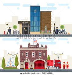 landscape with buildings police and fire station protection of life health and property of