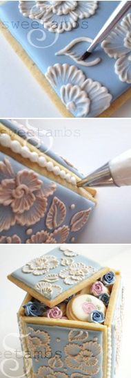 to make a brush embroidery cookie box (Sweetambs) tutorial. Beautiful for a little gift or party favor.How to make a brush embroidery cookie box (Sweetambs) tutorial. Beautiful for a little gift or party favor. Cookies Cupcake, Iced Cookies, Royal Icing Cookies, Cookies Et Biscuits, Sugar Cookies, Iced Biscuits, Cake Decorating Techniques, Cake Decorating Tips, Cookie Decorating