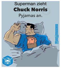 Superman zieht Chuck Norris Pyjamas an - Chuck Norris Witze