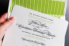 spring green and black letterpress wedding invitation