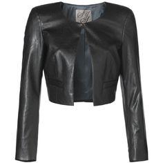 Imitatieleren bolero blazer Zwart ❤ liked on Polyvore featuring outerwear, jackets, blazers, bolero jacket, fake leather jacket, bolero blazer, vegan leather jacket and faux leather bolero jacket