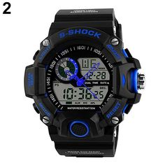 Mens Waterproof Digital LED Backlight Alarm Stopwatch Sports Rubber Wrist Watch 4NV2 - The Big Boy Store