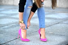 From pink shoes to pink lips, we're loving the bold colors this season. #style