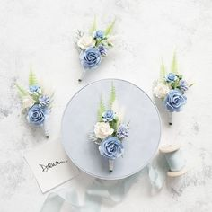 Blue Boutonniere, Groomsmen Boutonniere, Wedding Boutonniere, Boutonnieres, Flower Crown Wedding, Bridal Flowers, Floral Wedding, Groomsmen Wedding Photos, Blue Groomsmen