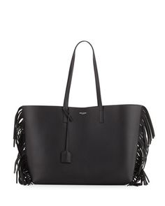 Large+Calfskin+Fringe+Shopping+Tote+Bag,+Black+by+Saint+Laurent+at+Neiman+Marcus.