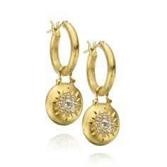 18K Gold Huggies with Detachable 18K Gold Discs with Diamonds Set in Starburst, Charms, Designed By The Mazza Company