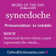 synecdoche (noun): a figure of speech in which a part is made to represent the whole or vice versa. Word of the Day for 23 March 2015. #WOTD #WordoftheDay #synecdoche