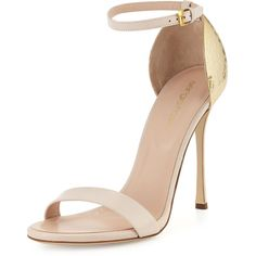 Sergio Rossi Hammered-Heel Strappy Sandal ($730) ❤ liked on Polyvore featuring shoes, sandals, powder, golden sandals, ankle wrap sandals, strap sandals, ankle tie sandals and ankle strap high heel sandals