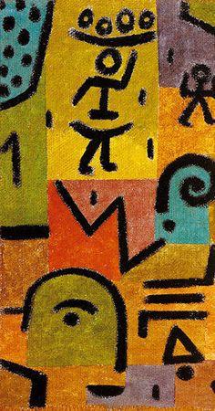 Paul Klee (1879-1940) maakt in de loop van zijn werk een ontwikkeling door van figuratief symbolisme tot een steeds kernachtiger, soms vrijwel abstracte vormentaal. Werk uit die periode werd in de jaren twintig en dertig als te kinderlijk ervaren - een van de redenen dat Klee werd afgewezen als docent aan de kunstacademie van Stuttgart - maar later herkend en erkend als baanbrekend. Heeft grote invloed gehad op vele kunstenaars waaronder een aantal CoBrA kunstenaars.