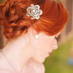 Soft Bridal Updo - Red Hair similar to Rose in Titanic. The Make-up & Beauty Studio