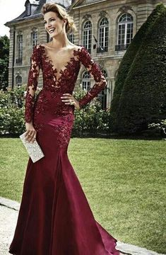 Vestidos Dark Red Evening Dresses 2015 Burgundy Long Sleeves Lace beads Mermaid Prom Dress Deep V Neck Mermaid Formal from Urban Fashion shop. #pretty #dress #adorable #promgirl #promdress.