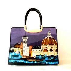 borsa in pelle dipinta a mano ROMA