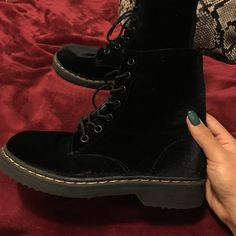 Velvet Doc Marten Look Alike super comfy and look very similar to real doc martens Shoes Ankle Boots & Booties