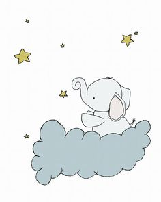 Baby Elephant Star Cloud Nursery Print :  You can CUSTOMIZE this print to any colors you choose, either from the color chart or a picture or