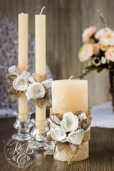 White Flower Unity Candle Set for Wedding Flower Candles Wedding Unity Candles, Unity Ceremony, Diy Candles, Pillar Candles, Wedding Centerpieces, Wedding Decorations, Christmas Decorations, Wedding Ceremony, Decor Wedding