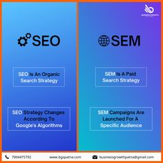 Search Engine Optimization and Search Engine Marketing are not the same. SEO is organic with generalized while SEM is paid with the specific target audience. Make the right choice for your business. Visit www.bgspatna.com #SEO #TargetAudience