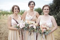 mismatched bridesmaids dresses for a rustic wedding // photo by SaraLucero.com