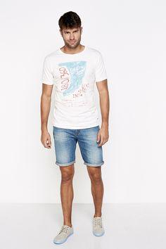 Regular fit shirt with watercolour effect print of a fin. | T-SHIRTS | Springfield Man & Woman