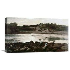 Global Gallery 'Fisherman on Rocks' by Winslow Homer Painting Print on Wrapped Canvas Size: