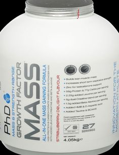 PhD Growth Factor Mass Strawberry 4005g Powder - Growth Factor Mass is the All-In-One mass gaining formula that is without equal. Containing 57g ofa quality mass gaining protein blend, together with 76g of a 5-stage carbohydrate matrix, Growth Facto http://www.comparestoreprices.co.uk/vitamins-and-supplements/phd-growth-factor-mass-strawberry-4005g-powder-.asp