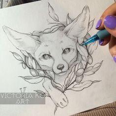 Fennec fox tattoo design - INSPIRATION (concept art, illustration, etc. Fox Tattoo Design, Sketch Tattoo Design, Tattoo Sketches, Tattoo Drawings, Drawing Sketches, Tattoo Designs, Tattoo Illustrations, Tattoo Ink, Animal Sketches