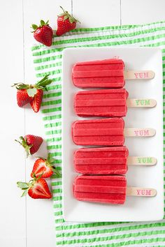 Strawberry Yogurt Popsicles | Annie's Eats