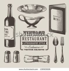 Vintage restaurant objects