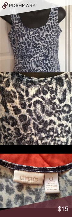 Chico's size 0 XS leopard blue and black tank Stretchy leopard tank in blue and black and white XS Chicos size 0 perfect condition nice under a denim shirt Chico's Tops Tank Tops