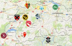 2019 Swiss Super League Map Engelberg, Winterthur, Davos, Chur, Lugano, Lausanne, Team Logo, Bad Ragaz, St Moritz
