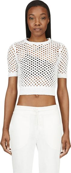 T by Alexander Wang white short sleeve macrame cage sweater | reg $350, sale $105
