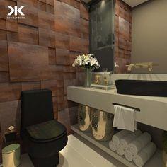 Sugestão para um Lavabo com louças pretas e aço corten na parede #DanielKrothArquitetura #projeto #lavabo #deca #louçapreta #açocorten #steelcorten #dourado