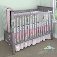Crib bedding in Solid Silver Gray, White and Gray Polka Dot, Baby Toile Sage, Solid Mint Minky, Watermelon Minky, Solid Bubblegum Pink, Watermelon Lattice, White and Pink Polka Dot, Mint Zippy Chevron. Created using the Nursery Designer® by Carousel Designs where you mix and match from hundreds of fabrics to create your own unique baby bedding. #carouseldesigns