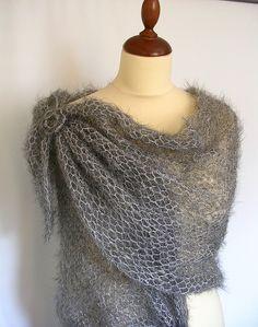 knit grey shawl