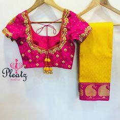 Designer blouse and saree.Code : 31317 pleatz  preethifazel  fashiongram  weddingseason  weddingblouse ...  01 April 2017