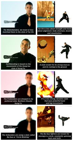 different styles of bending/martial arts Avatar Aang, Avatar The Last Airbender, Legend Of Korra, Legend Of Zelda, Martial Arts Styles, Iroh, Team Avatar, Fire Nation, Zuko