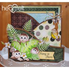 Heartfelt Creations - Hang In There Monkeys Foldout Project