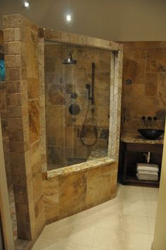 Natural Bathroom Theme Idea With Natural Stone Wall Bathroom Also Copper Vessel Sink Natural Vanity Sink Cabinet Also Elegant Natural Pivot Shower. .