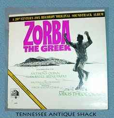 Zorba the Greek original LP soundtrack from the 20th Century-Fox motion picture starring Anthony Quinn. This 1960s vinyl album is for sale at Tennessee Antique Shack. $10.99