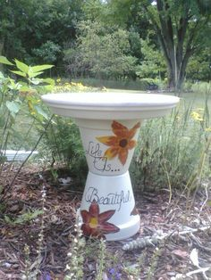 """Life is Beautiful"" birdbath made by Christine Alexander"