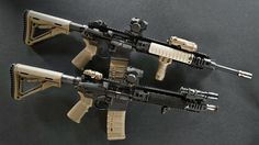 """It features the KAC improved E3 bolt and barrel extension for greater parts life, and the improved bolt carrier (termed """"Carbon Cutter"""") which is more resistant to fouling in adverse conditions. Description from deadlyweapons-army.blogspot.com. I searched for this on bing.com/images"""