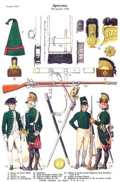 French; Dragoons 1786 regulations. Bottom L to R Officer Tenue de ville. 18th Dragoons, Officer, Tenue de Service a Pied. Dragoon, Tenue d'Ecurie & 20th Dragoons, Dragoon, Tenue de Service a Pied
