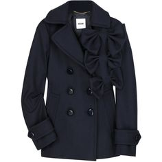 Moschino Bow-embellished wool peacoat ($1,519) ❤ liked on Polyvore featuring outerwear, coats, jackets, tops, pea coat, asymmetrical coat, double breasted woolen coat, wool pea coat and navy wool peacoat