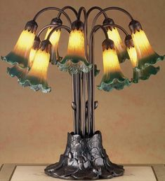 Meyda Tiffany Victorian Pond Lily 10 Light Table Lamp Shade Color: Yellow and Green Table Lamp Base, Lamp Bases, Light Table, Lamp Light, Antique Light Fixtures, Modern Light Fixtures, Green Pond, Tiffany Table Lamps, Green Lamp