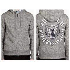 Auth NEW Kenzo Zip Up Hoodie UNISEX *NO TRADES* Very pretty grey hoodie. For both genders, unisex. NO TRADES PLEASE. Kenzo Sweaters
