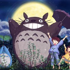 Papers.co wallpapers - au60-totoro-forest-anime-cute-illustration-art-blue - http://papers.co/au60-totoro-forest-anime-cute-illustration-art-blue/ - illustration