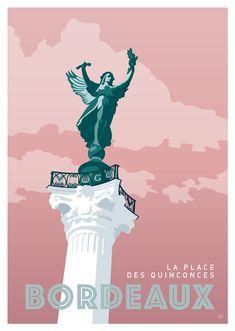 AFFICHE VILLE DE BORDEAUX - La place des Quinconces Visit Bordeaux, Bordeaux France, Poster Retro, Illustrations Vintage, Cali Style, Ville France, Travel Cards, Travel Illustration, Vintage Travel Posters