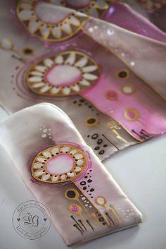 KVIETKO ružový set / LGhodvab - SAShE.sk - Handmade Šály