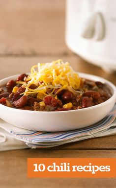 10 Chili Recipes — Whether you're planning a tailgate party or looking for an easy slow-cooker recipe to make dinnertime easy, we've got the chili recipes that will score points with the home crowd.