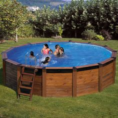 Piscina Gre de madera circular Nature Pool Serie Hawaii KITNP461 Above Ground Swimming Pools, Above Ground Pool, In Ground Pools, Pool Deck Plans, Pool Decks, Outdoor Life, Outdoor Spaces, Outdoor Decor, Hawaii